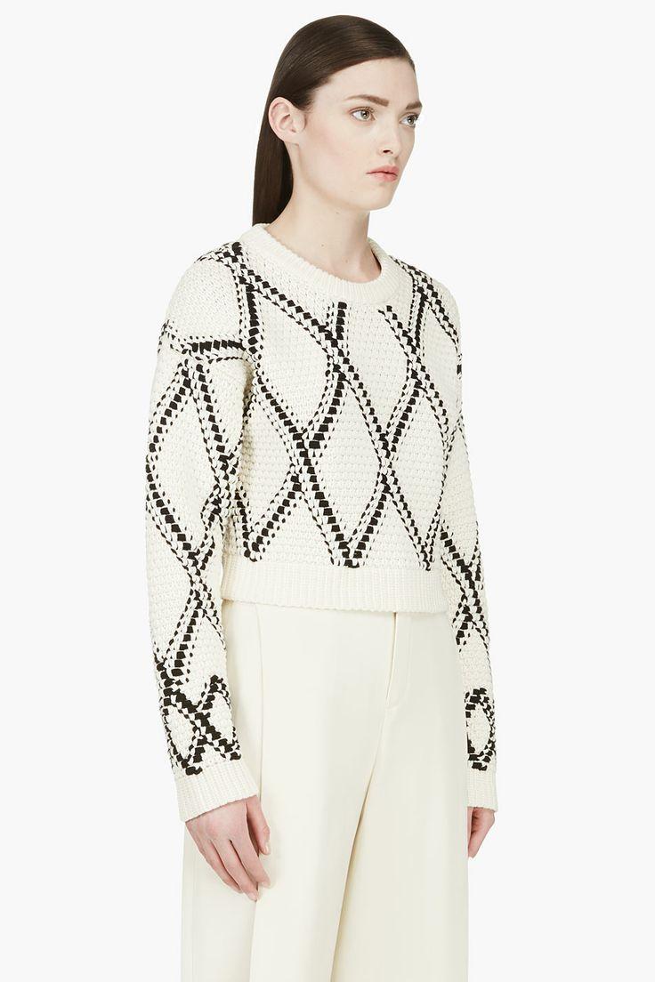 PROENZA SCHOULER Cream & Black Handwoven Cropped Sweater