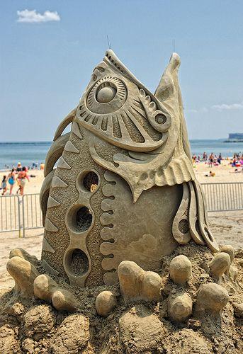 Fish sculpture at Revere Beach National Sand Sculpting Festival