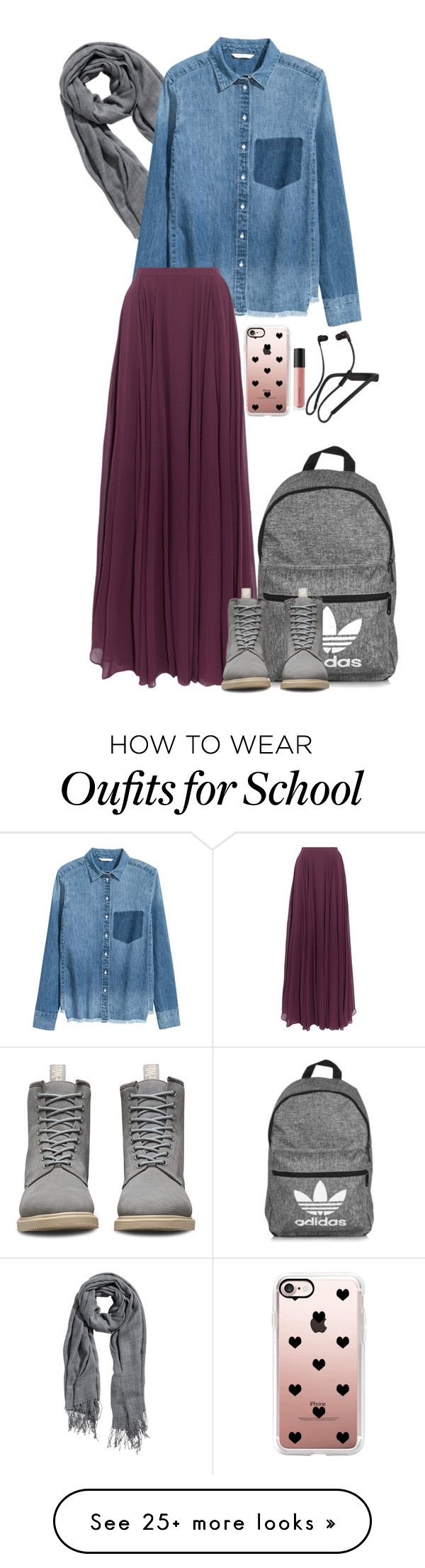 """back to school"" by hryoungstar15 on Polyvore featuring adidas, Halston Heritage, Dr. Martens, Casetify, Bare Escentuals and Skullcandy"