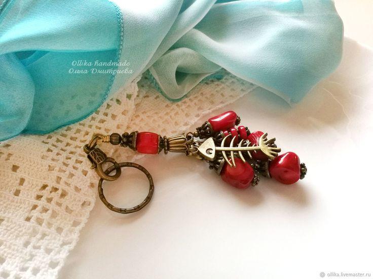 Купить Брелок для ключей Удачной Рыбалки,украшение на сумку коралловый брелок в интернет магазине на Ярмарке Мастеров