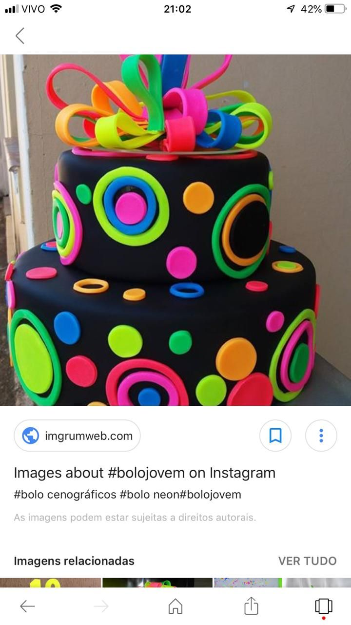 Pin By Laura Roza On Neon Fondant Cakes With Images Neon