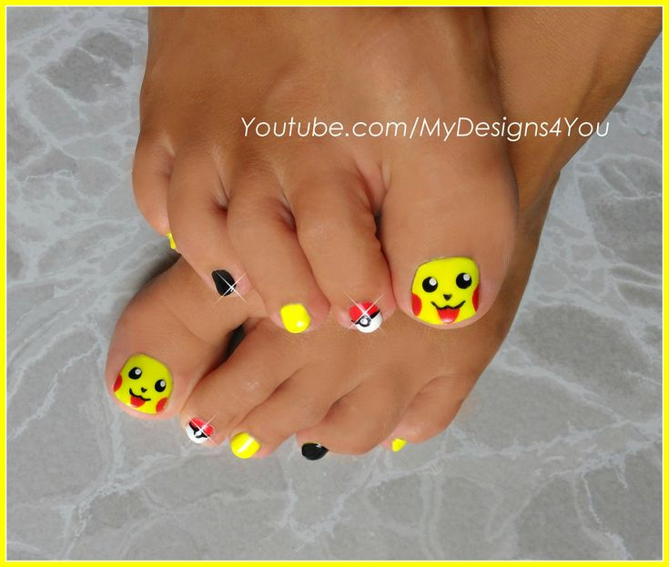 Pokémon Go Toenail Art. Cute Pikachu nails.
