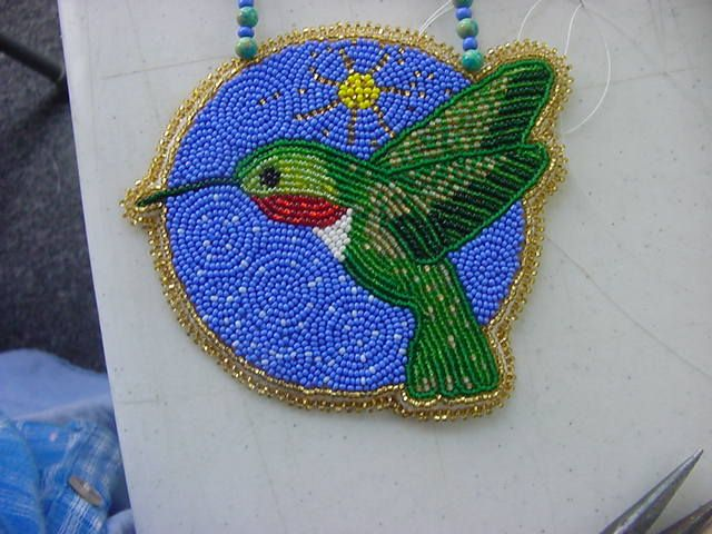beaded hummingbird medallion