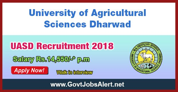 UASD Recruitment 2018 - Walk in Interview for JCB Operator Post, Salary Rs.14,550/- : Apply Now !!!  The University of Agricultural Sciences Dharwad – UASD Recruitment 2018 has released an official employment notification inviting interested and eligible candidates to apply for the positions of JCB Operator. The interested candidates have to attend the walk in interview to apply to the post in the prescribed format website (given below).   #2018 #featured #governmentjob