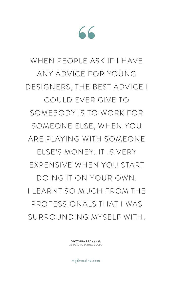 Victoria Beckham's Best Advice for Achieving Success via @MyDomaine
