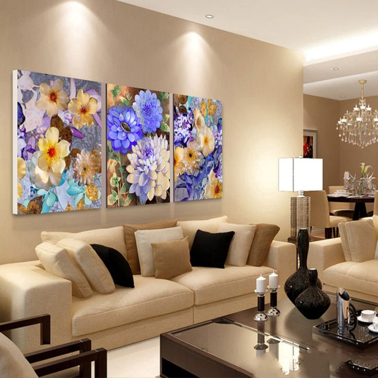 Cuadros pintar flores 3 unidades petr leo decoraci n del for Decoracion hogar living