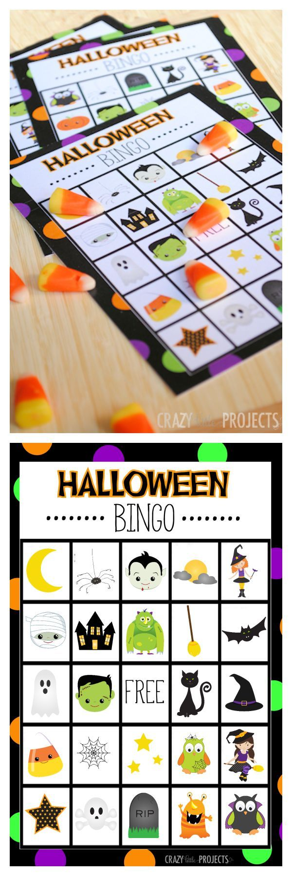 Free Printable Halloween Bingo Game Set-Perfect for kids parties and school…