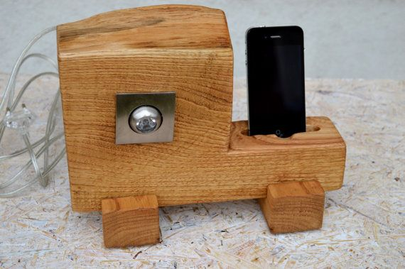 Wooden iPhone station with lamp Wood iPhone stand iPhone Dock Decorative lamp