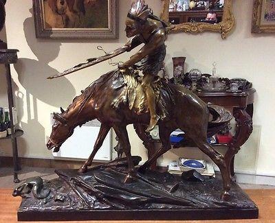 DROUOT edouard ( 1859-1945) france indien a cheval sculpture bronze long 64cm