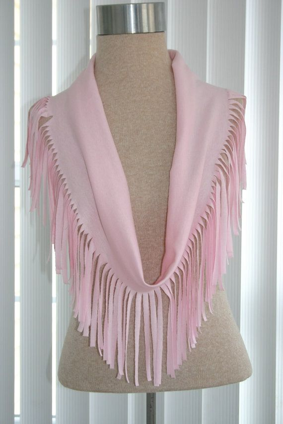 Pink TShirt scarf with fringe by CarolesCraftyCorner on Etsy, $12.50