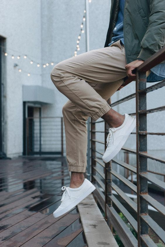 How to Wear Khaki Jogger Pants