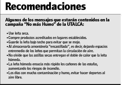 """Algunos de los mensajes que estarán contenidos en la campaña """"No más Humo"""" de la UTALCA"""