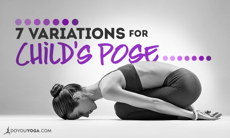 Get comfy and cozy in Child's Pose with these variations! #yoga #yogaposes
