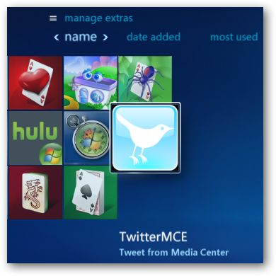 Use Twitter in Windows Media Center with TwitterMCE