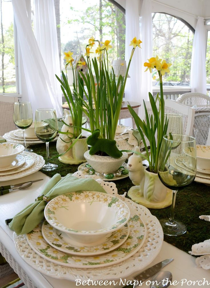 Spring Easter Table Setting - using greens (Between Naps on the Porch Blog)