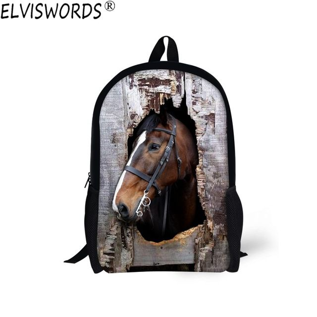 ELVISWORDS Cool Style School Bags 3D Horse Printing Schoolbag Teenager Boys Personality Casual Bookbag Comfortable Daily Mohila