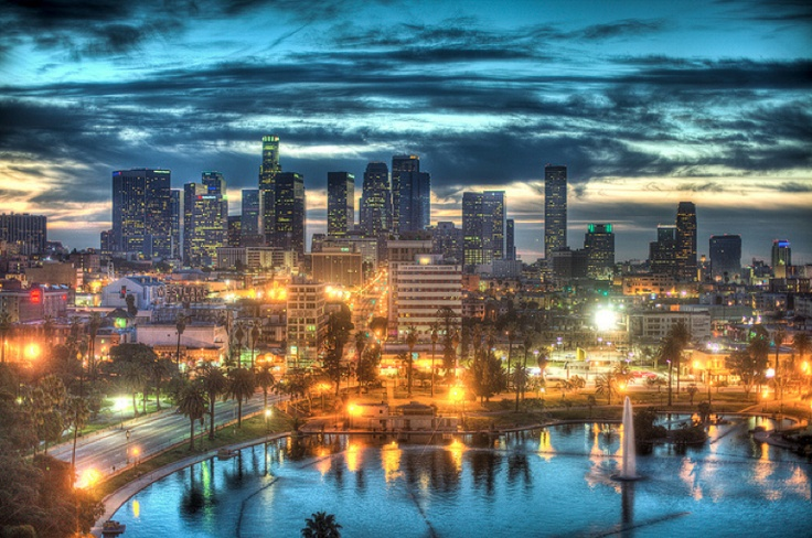 Gorgeous sunset over Echo Park and Downtown LA