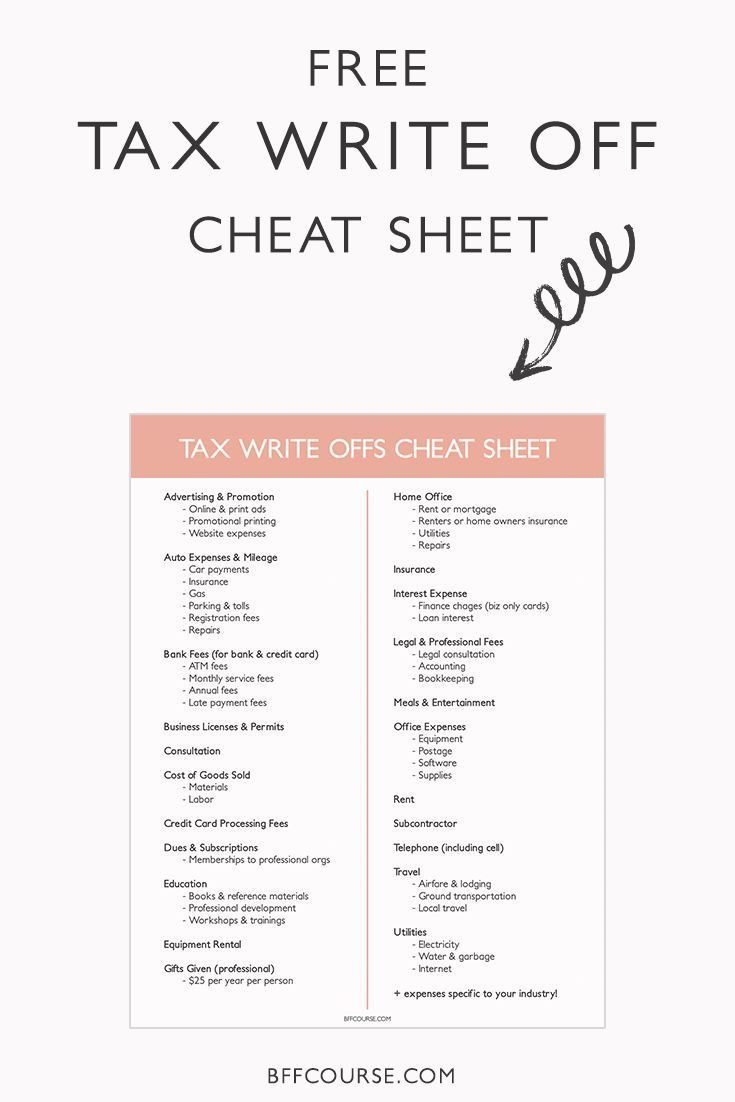 How To Write A Tax Write Off Cheat Sheet Tax Write Offs Business Tax
