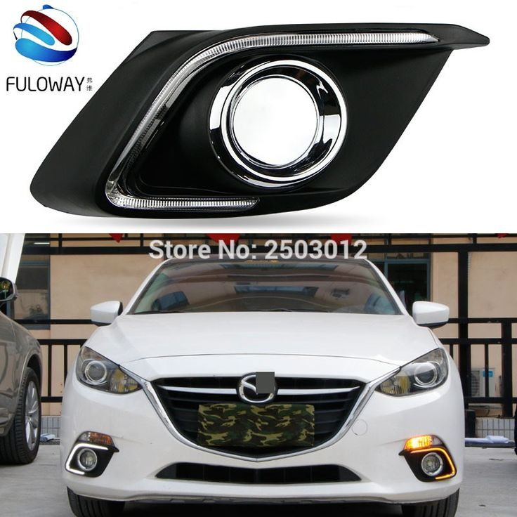 Sale US $60.00  For Mazda 3 Axela 2014 car-styling relay 12V LED DRL daytime running lights with  dimmer and turn signal light car fog cover