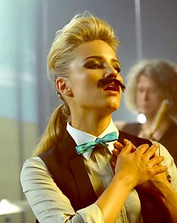 """Dianna Agron Rocks Fake Mustache, Impersonates Brandon Flowers in The Killers' """"Just Another Girl"""" Music Video"""