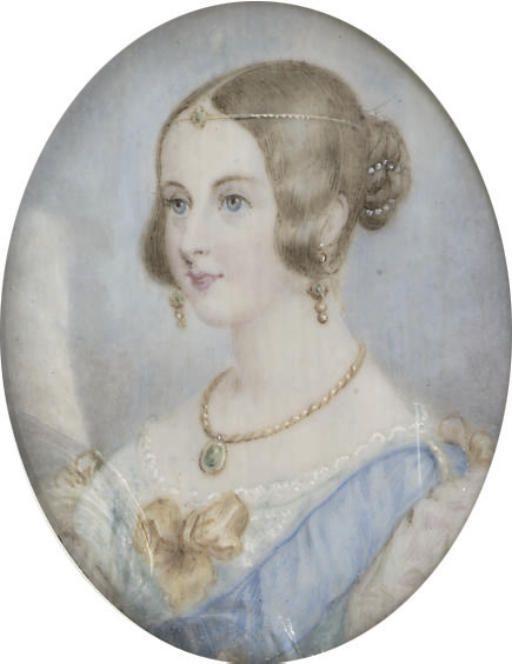 Queen Victoria wearing a ferrioniere head band in renaissance
