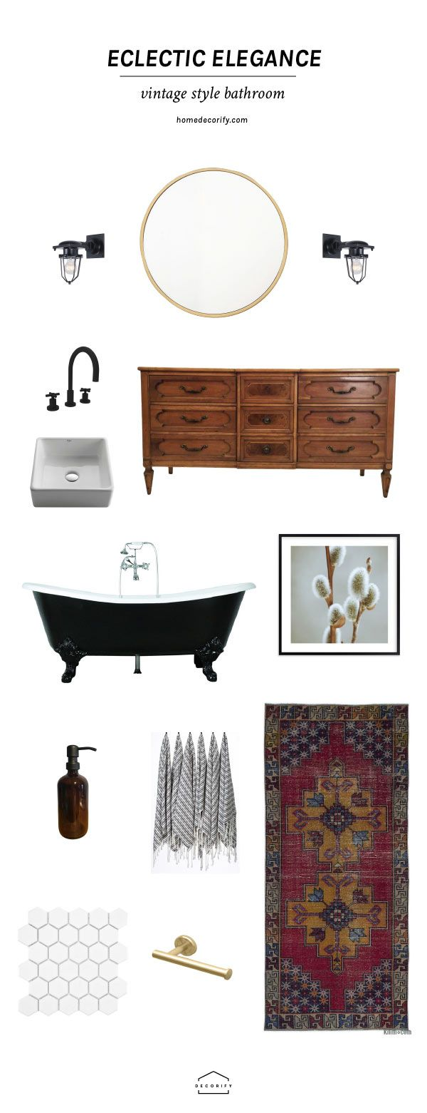 All the right items you need to create a vintage bathroom with black and white elements and a touch of eclectic style.