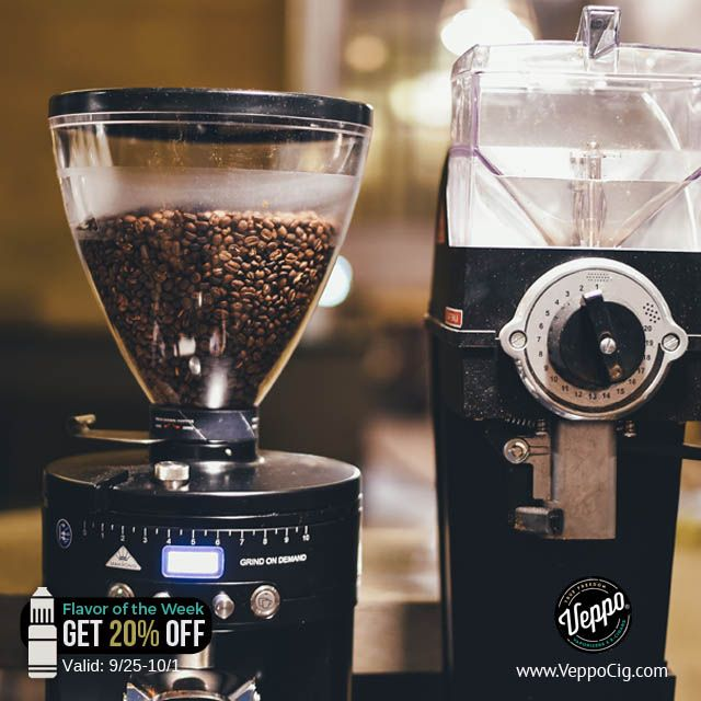 The grind is real, and the flavor is too! Coffee E-Liquid is our delicious Flavor Of The Week!