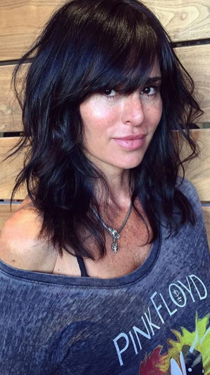 Bangs for wavy hair and oval face archives women medium haircut - Medium Black Layered Hairstyle With Bangs Eyebrow Makeup Tips