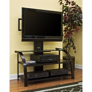 """Sauder TV Stand with Panel Mount, Black and Dark Espresso with Black Glass for TVs up to 41"""""""