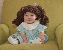 I can't stand the CUTENESS!!! Dress Up Hats For Kids, Cabbage Patch Costume, Cabbage Patch Kid Wig, Baby costume, Costumes for kids, Cabbage patch inspired hat, Baby Wigs