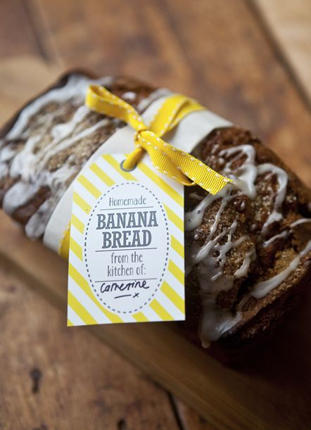Easy, Quick Banana Bread Recipe with gift tag labels