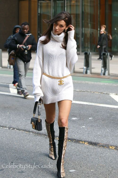 c0ba172ac0c54d You'll Love Bella Hadid's Fresh Take on the Sweaterdress | Celebrity Style  Guide