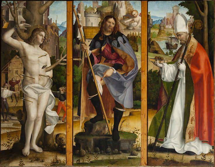 """Francesco da Milano """"San Rocco, San Sebastiano e San Nicola di Bari"""", 1512, tempera grassa su tavola, intero Mostra """"Un Cinquecento Inquieto"""", Conegliano"""