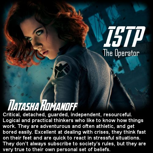Behind the Mask: The Avengers Personality Chart - Black Widow [ISTP]