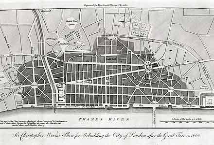 Wren's rebuilding plan, 1666