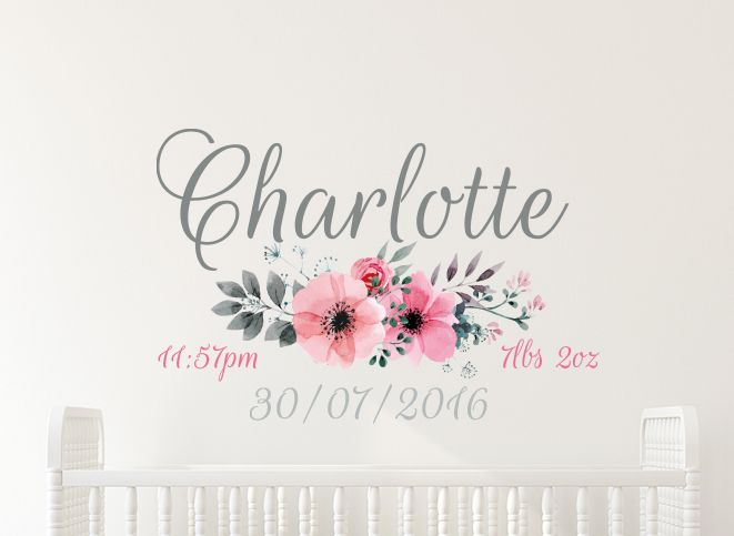 Personalise with this elegant Flower Date of Birth Name Wall Decal. This stylish watercolor Flower Date of Birth Name Wall Decal is perfect for Nursery rooms and looks wonderful above a crib! Decal is personalised with Name, Date of Birth, Time of Birth and Weight at Birth.