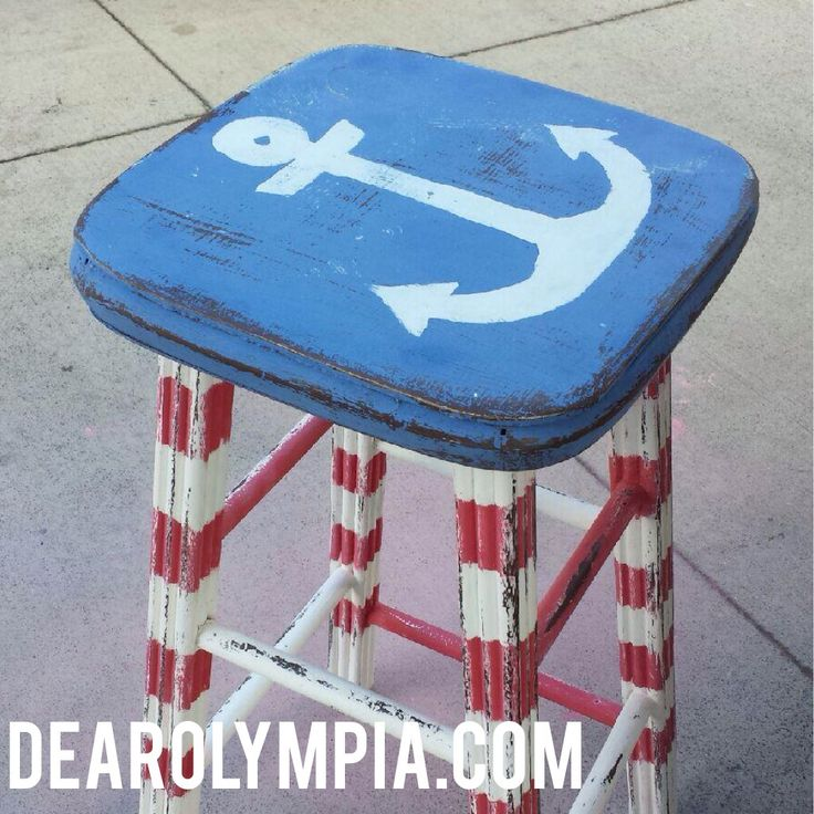 Red, White And Blue Patriotic Anchor Stool In CeCe Caldwellu0027s Paints Maine  Harbor Blue, Traverse City Red And Simply White.