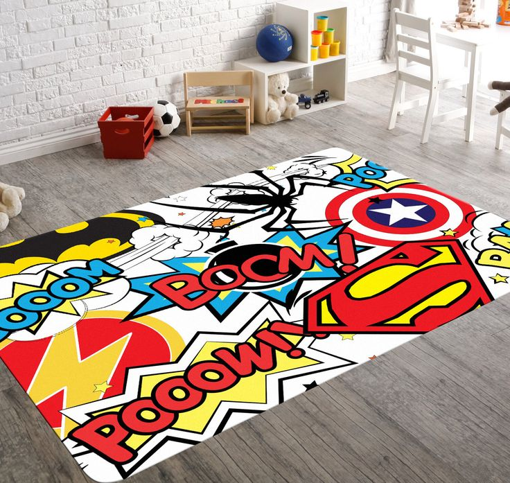 Superhero Rug, Playroom Rug, Superhero Room Decor, Kids Playroom Decor, Geek Home Decor, Teen Room Decor, Comic Book Art, Superhero Nursery by HawkerPeddler on Etsy https://www.etsy.com/listing/212235566/superhero-rug-playroom-rug-superhero