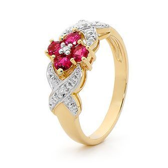 Buy our Australian made Created Ruby and Diamond ring - BEE-24753-CR online. Explore our range of custom made chain jewellery, rings, pendants, earrings and charms.