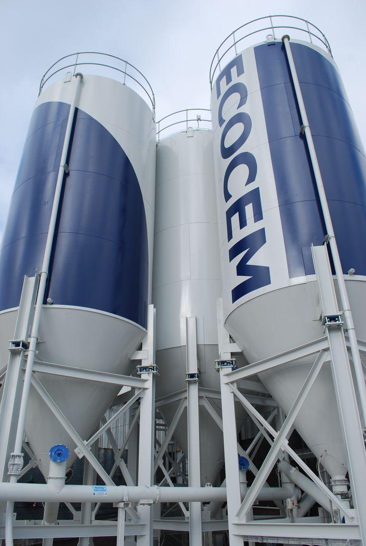 Graphic, signage and branding design for Ecocem cement silos by Kingston Lafferty Design. www.kingstonlaffertydesign.com