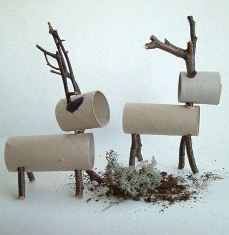Adornos para navidad hechos con rollos de papel higiénico