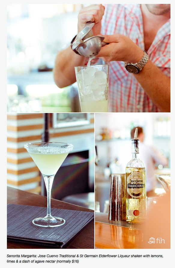 Elderflower margarita (recipe is in really small print at the bottom of the photo