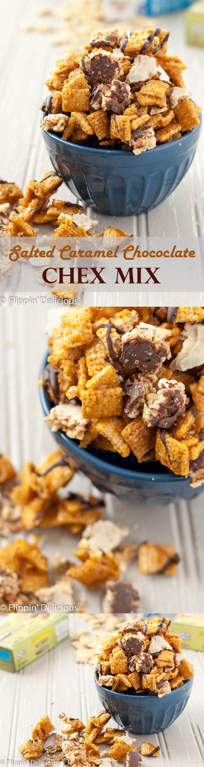 This Salted Caramel Chocolate Chex Mix makes the perfect indulgent late night snack, and it is naturally gluten-free! (Dairy-free option too.) #BeSnacksational AD @alberts