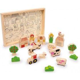 """Tieto stavebné kocky z robustného bukového dreva majú tvary zvieratiek, budov a ľudí a dajú sa naspäť zložiť do škatuľky z bukového dreva. Detské ručičky budú mať radosť už pri hre s jednotlivými dielikmi alebo pri trénovaní jemnej motoriky stavaním figúrok na nakreslené plochy na dne škatuľky. Drevená hračka Stavebné kocky """"Farma"""" je výbornou pomôckou pre zvládnutie koordinácie medzi rukami a očami. Dieťa sa popritom naučí, ako to chodí na takej farme."""