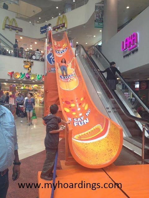 Fanta Brand Advertising in mall Advertising by myhoardings www.myhoardings.com