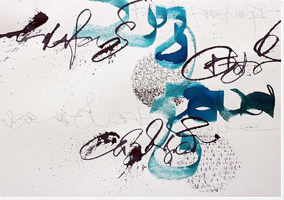 blaue und graue Holzbeize, Balsaholz, Cola Pen, schwarzer Fineliner