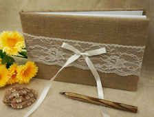 Rustic hessian wedding guest book