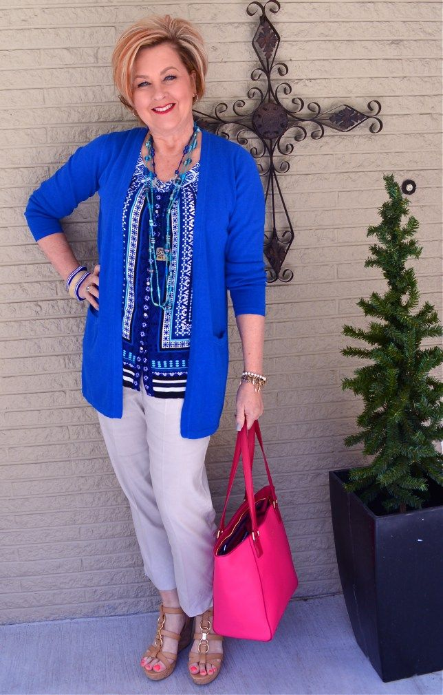 50 Is Not Old | Lighting It Up Blue | Autism Awareness | Spring outfit | Fashion over 40 for the everyday woman