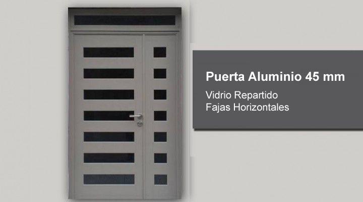 Puerta aluminio 45 mm vidrio repartido fajas for Puertas de aluminio rosario