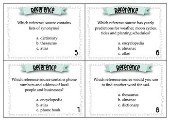 30 task cards to help your students practice identifying correct reference sources such as encyclopedia, internet, dictionary, atlas and more. Perf...
